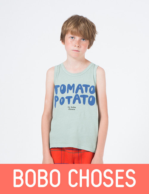 Tomato Linen Potato Tank Top  [ 4-5Y, 10-11Y]